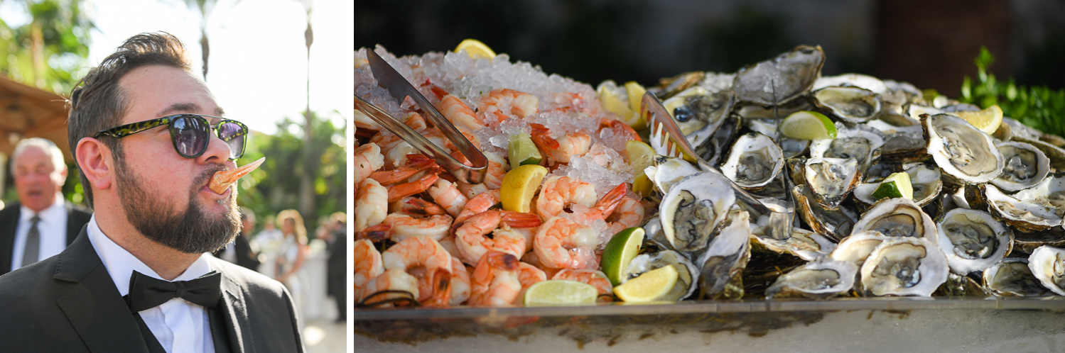 seafood catering at Tropical Garden Wedding at Fisher Island Miami by Domino Arts Photography
