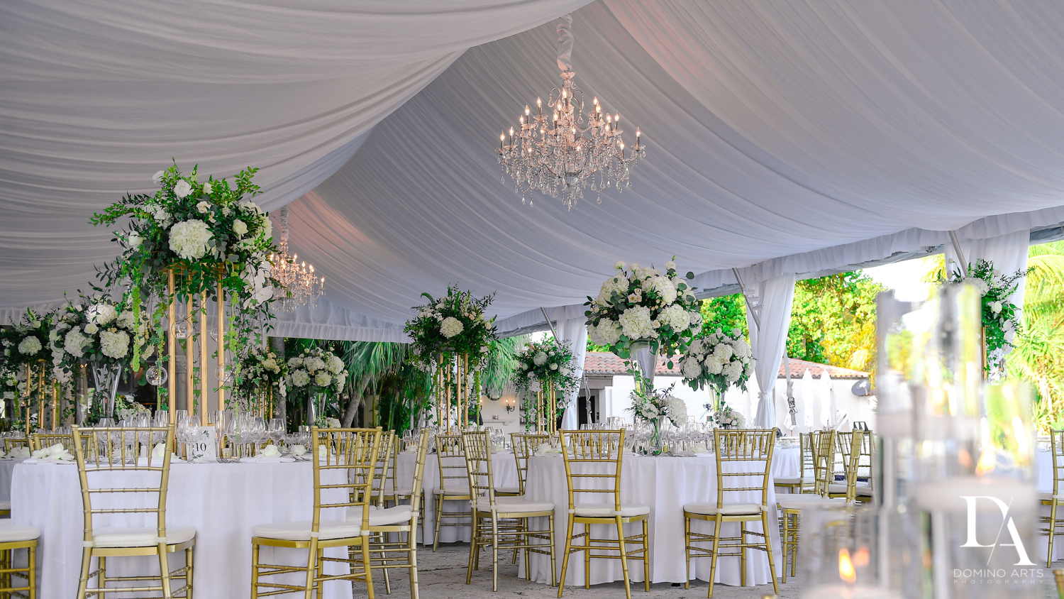 luxury tent decor at Tropical Garden Wedding at Fisher Island Miami by Domino Arts Photography