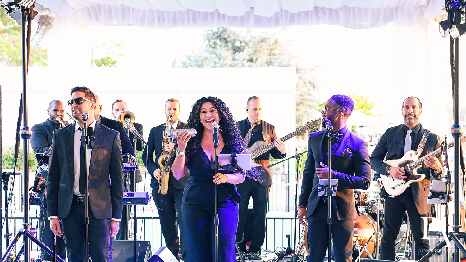 live band at Tropical Garden Wedding at Fisher Island Miami by Domino Arts Photography