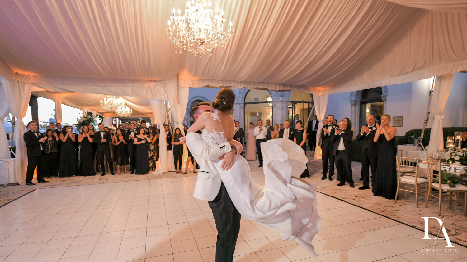 fun first dance at Tropical Garden Wedding at Fisher Island Miami by Domino Arts Photography