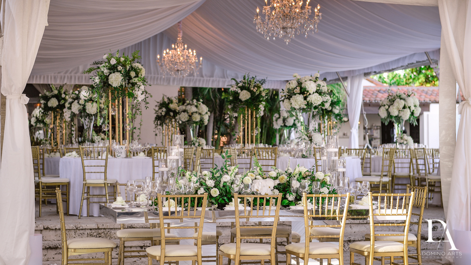 white decor at Tropical Garden Wedding at Fisher Island Miami by Domino Arts Photography
