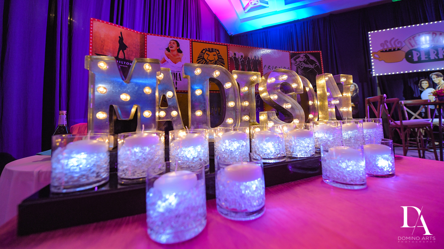 Awesome decor at New York Theme Bat Mitzvah at Woodfield Country Club, Boca Raton by Domino Arts Photography