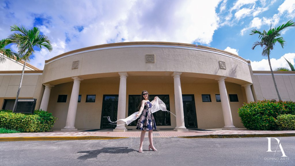 Girl outside of temple at New York Theme Bat Mitzvah at Woodfield Country Club, Boca Raton by Domino Arts Photography