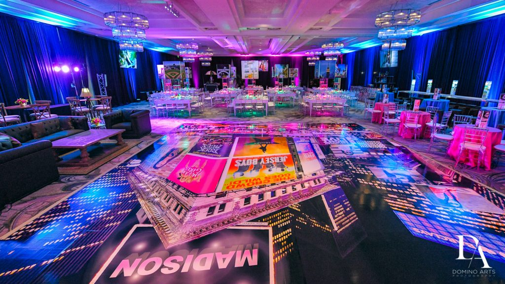 Party decor at New York Theme Bat Mitzvah at Woodfield Country Club, Boca Raton by Domino Arts Photography