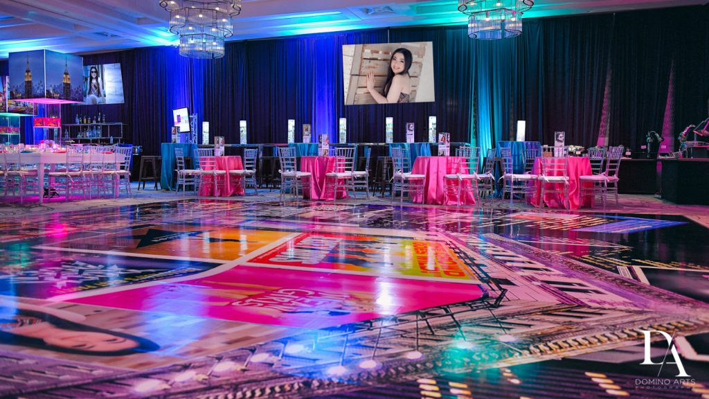 Best party decor at New York Theme Bat Mitzvah at Woodfield Country Club, Boca Raton by Domino Arts Photography
