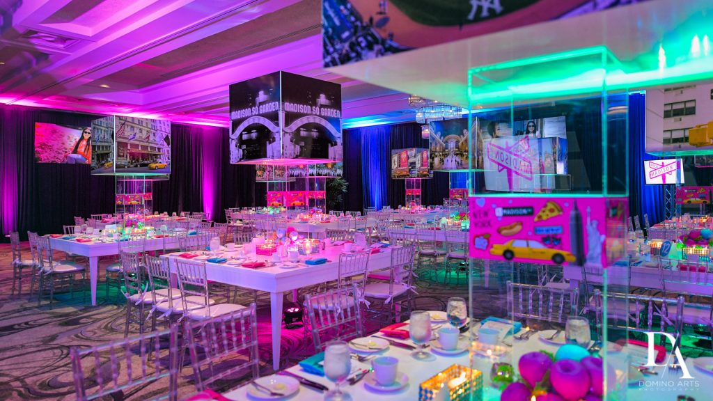 decor at New York Theme Bat Mitzvah at Woodfield Country Club, Boca Raton by Domino Arts Photography