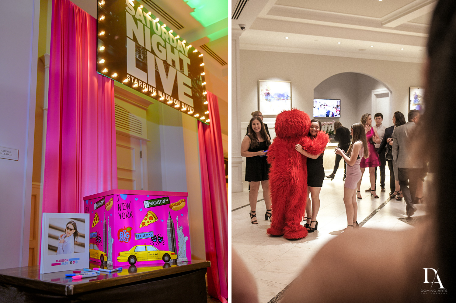 elmo at New York Theme Bat Mitzvah at Woodfield Country Club, Boca Raton by Domino Arts Photography