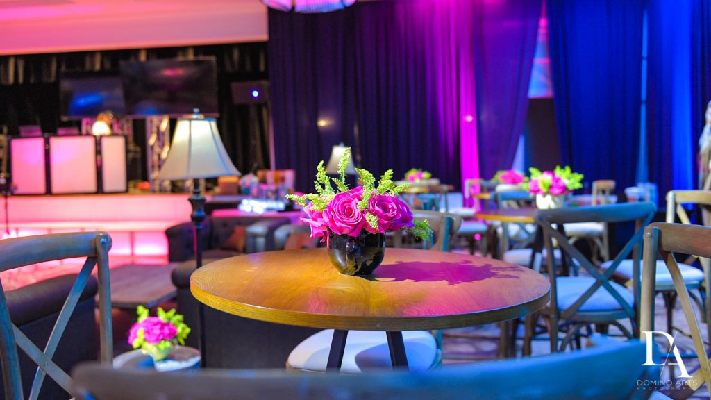 pink decor at New York Theme Bat Mitzvah at Woodfield Country Club, Boca Raton by Domino Arts Photography