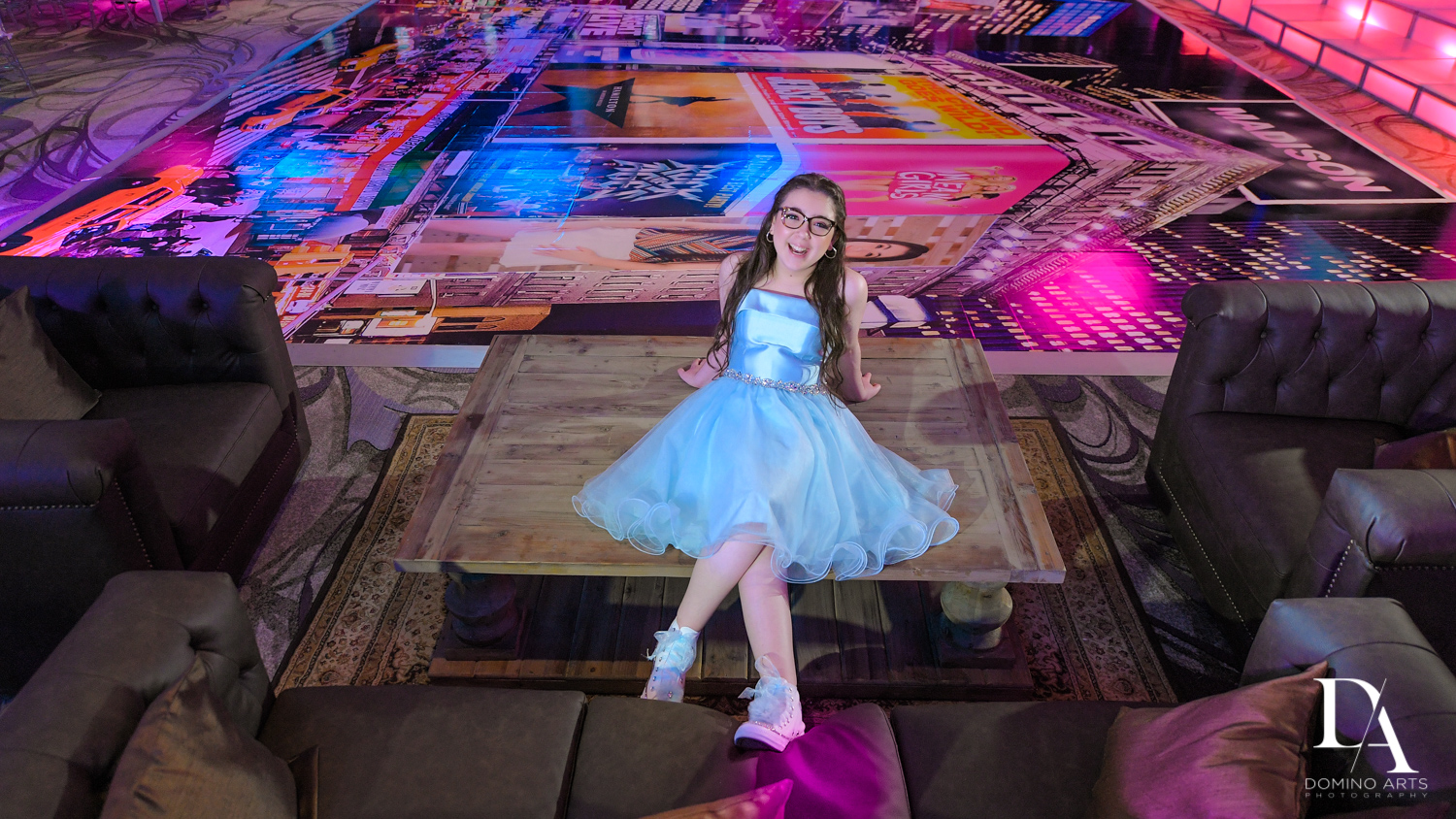 cute portrait at New York Theme Bat Mitzvah at Woodfield Country Club, Boca Raton by Domino Arts Photography
