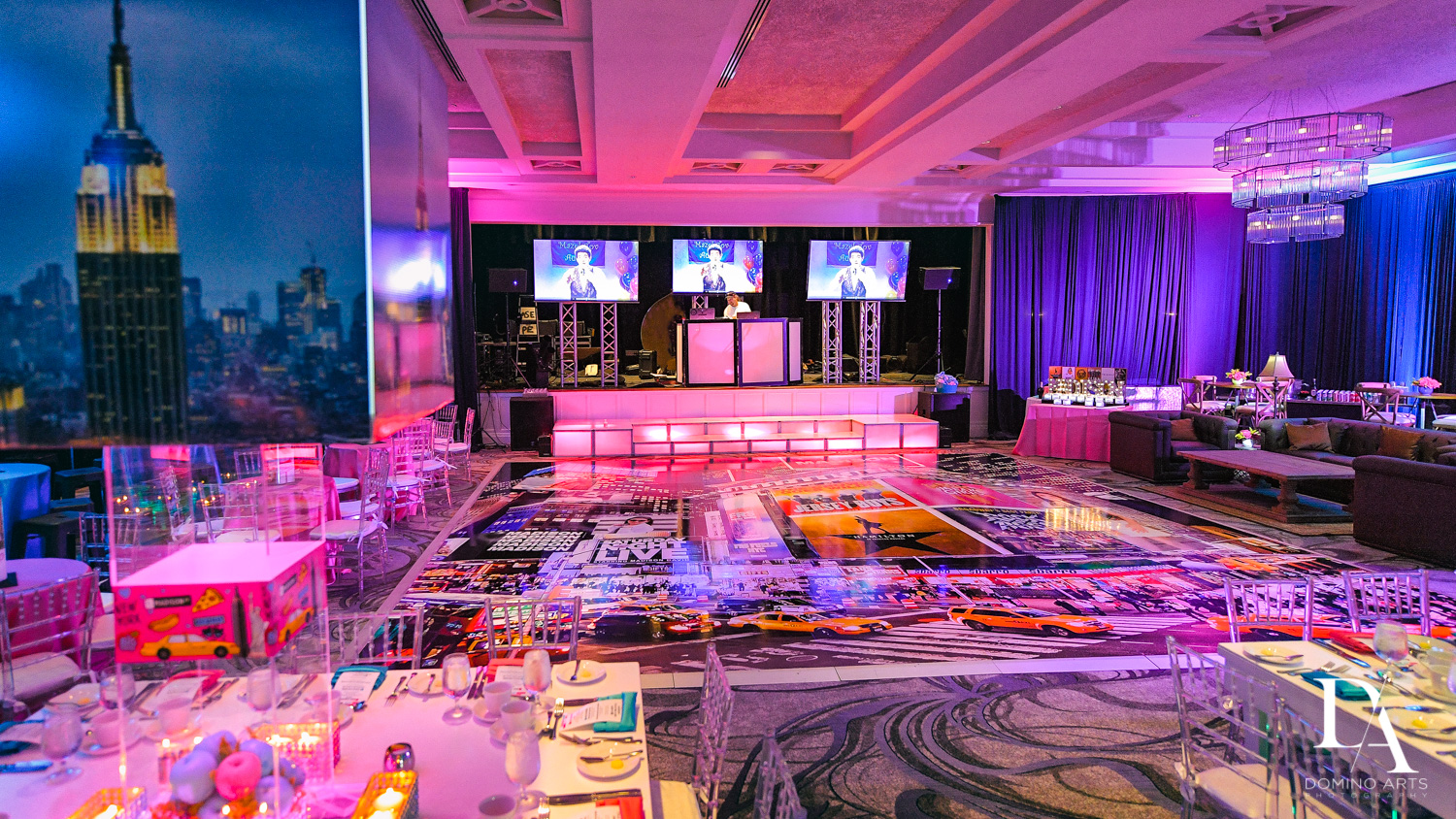 luxury decor at New York Theme Bat Mitzvah at Woodfield Country Club, Boca Raton by Domino Arts Photography