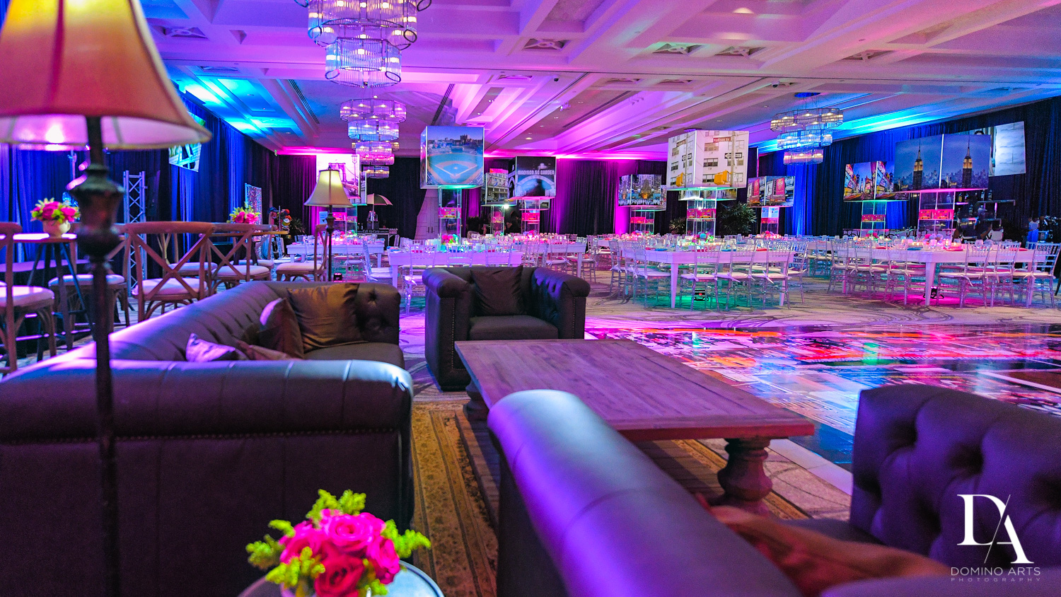 purple decor at New York Theme Bat Mitzvah at Woodfield Country Club, Boca Raton by Domino Arts Photography