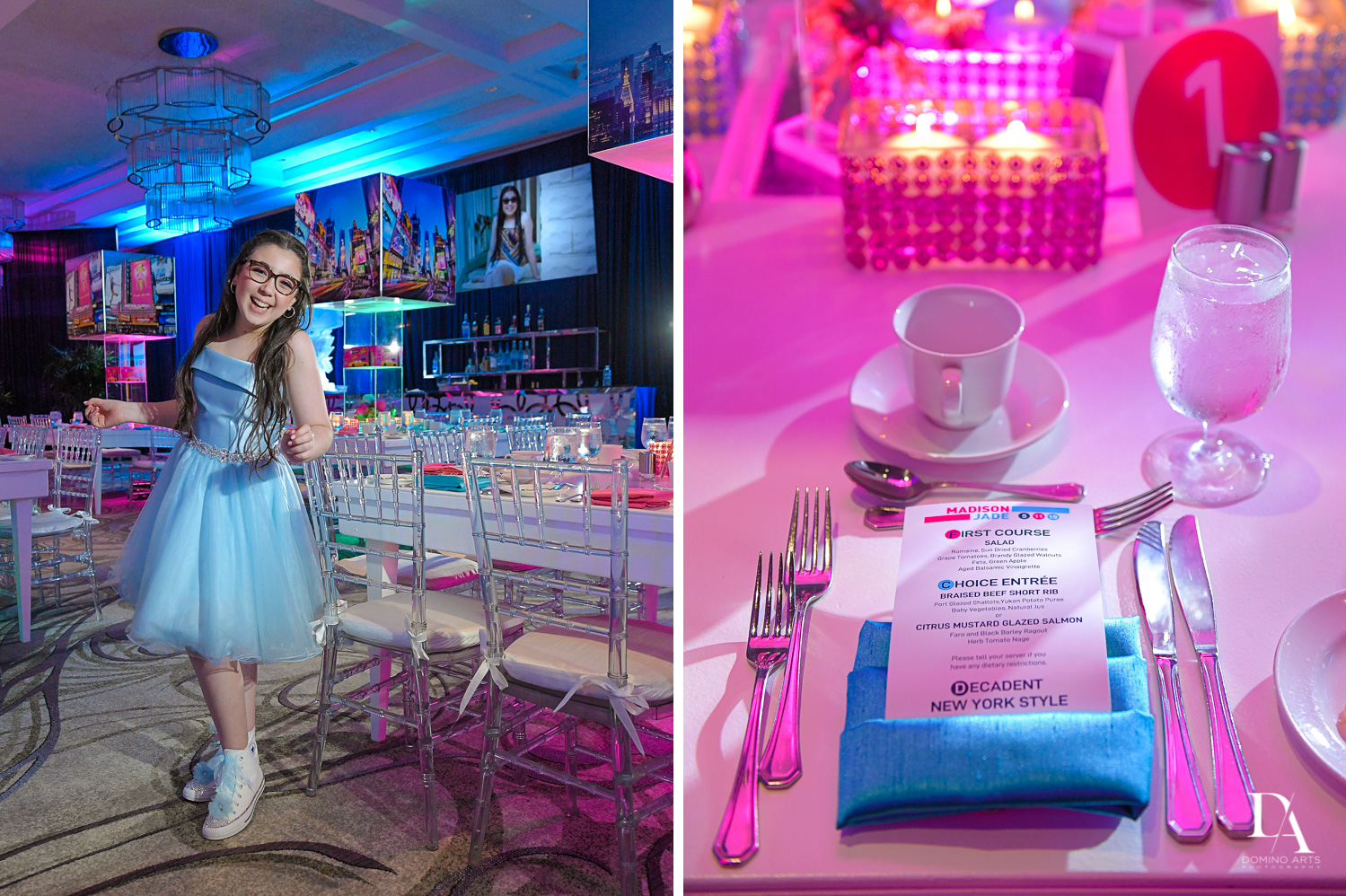 decor and portrait at New York Theme Bat Mitzvah at Woodfield Country Club, Boca Raton by Domino Arts Photography