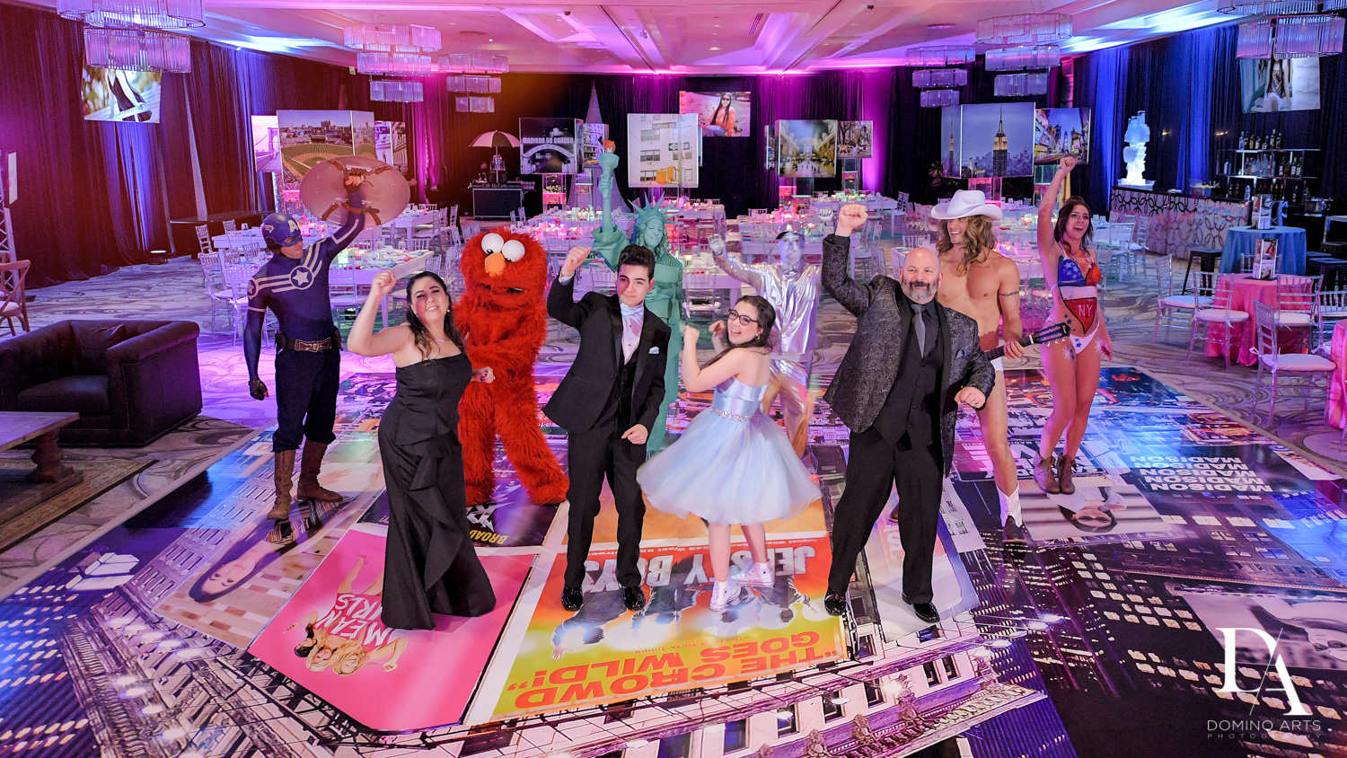 celebrity impersonators at New York Theme Bat Mitzvah at Woodfield Country Club, Boca Raton by Domino Arts Photography