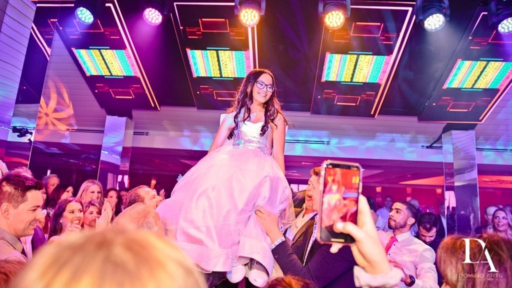 hora at LUXURY BAT MITZVAH FEATURING ZEDD AT ST ANDREWS COUNTRY CLUB BY DOMINO ARTS PHOTOGRAPHY