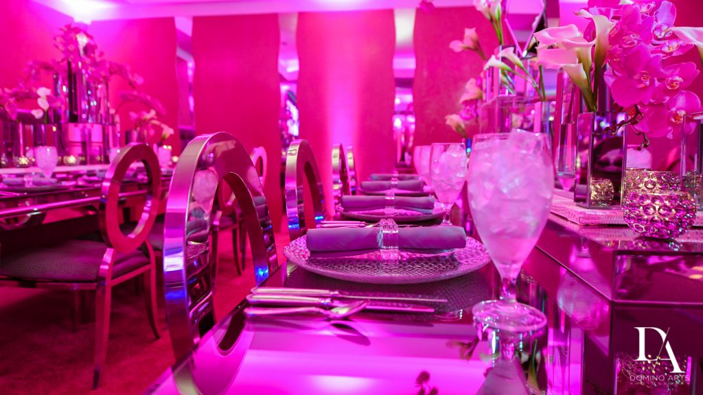 table setting at Luxury Bat Mitzvah featuring ZEDD at St.Andrews Country Club