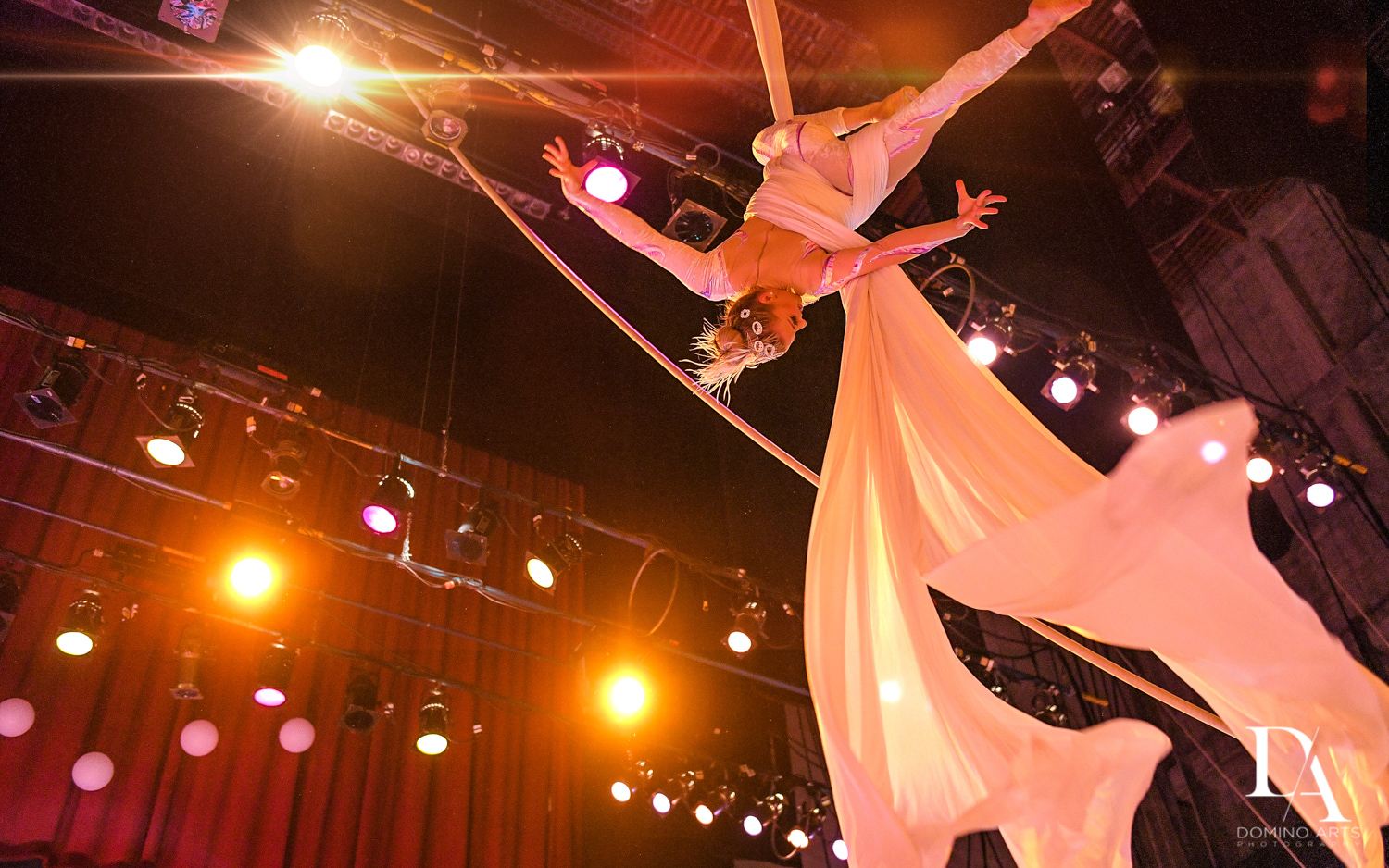 aerialists at The Greatest Showman theme Bat Mitzvah at the filmore miami by Domino Arts Photography