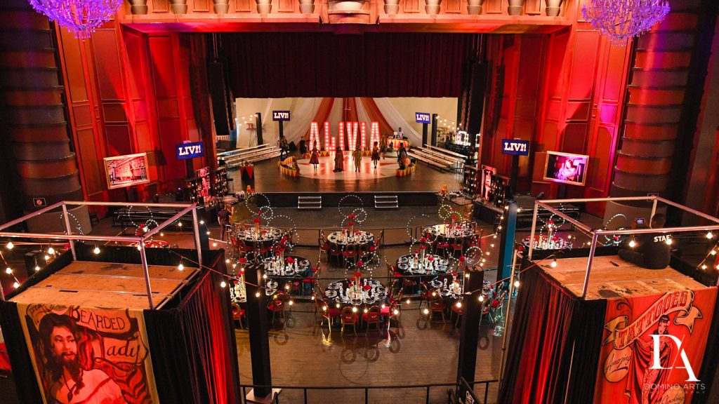 Decor at The Greatest Showman theme Bat Mitzvah at the filmore miami by Domino Arts Photography