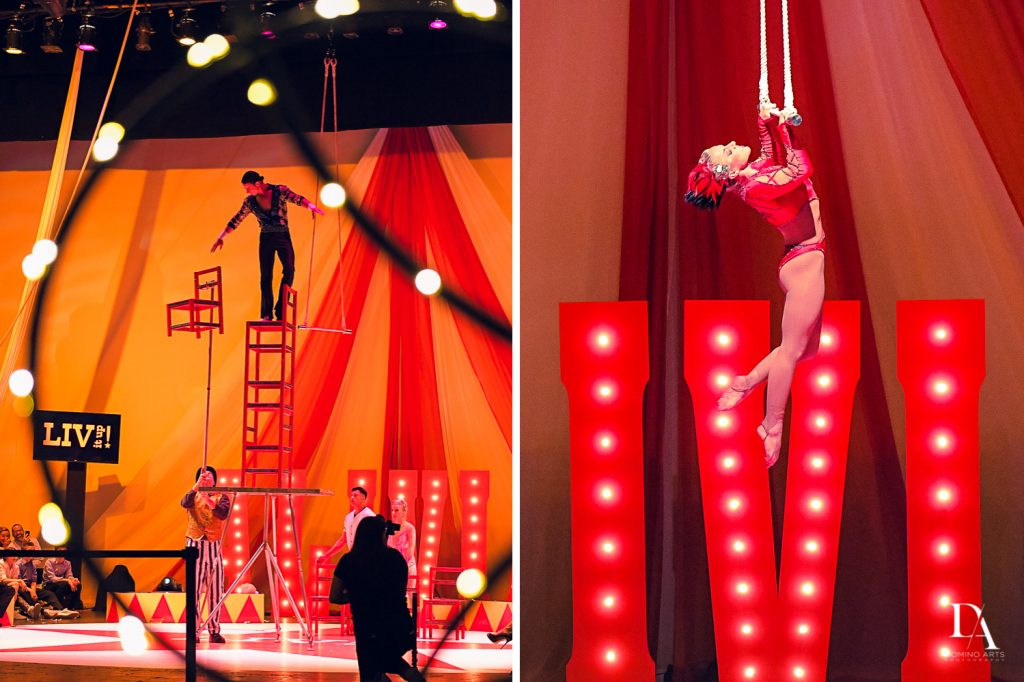 Circus show at The Greatest Showman theme Bat Mitzvah at the filmore miami by Domino Arts Photography