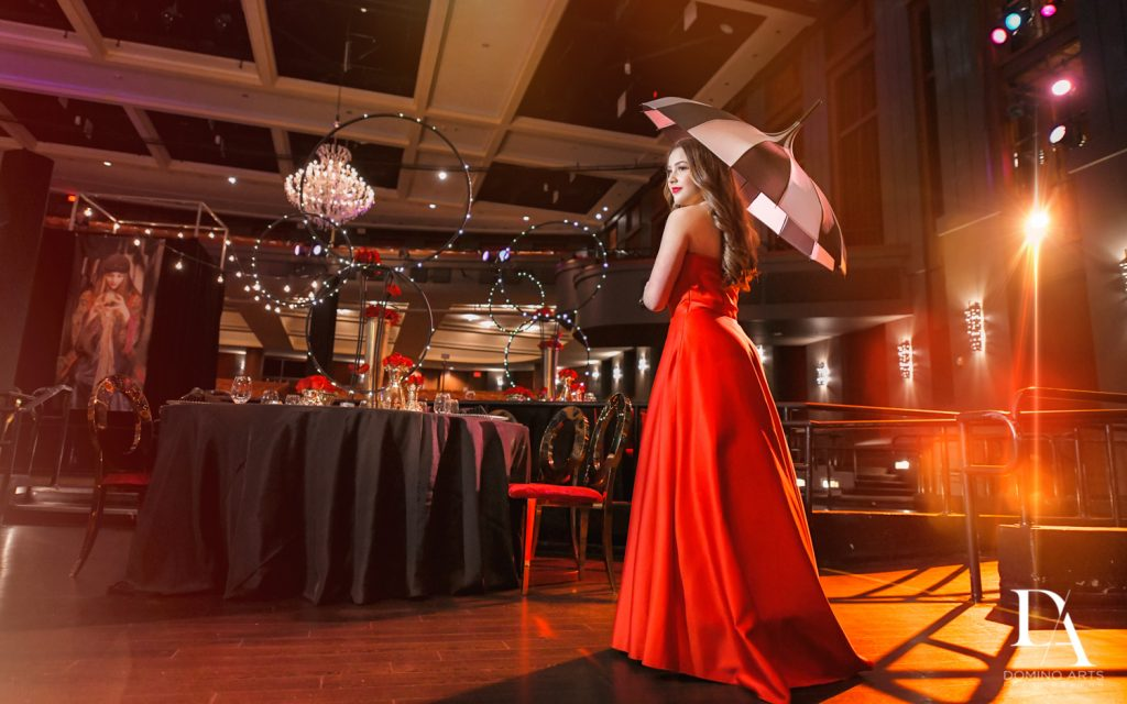 red dress portraits at The Greatest Showman theme Bat Mitzvah at the filmore miami by Domino Arts Photography
