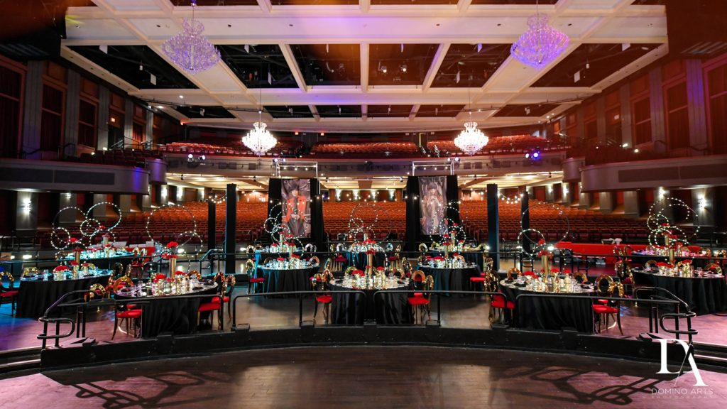 luxury decor by jennifer keller at The Greatest Showman theme Bat Mitzvah at the filmore miami by Domino Arts Photography