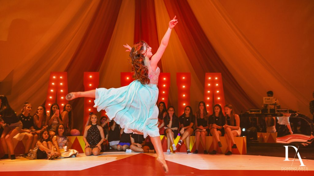 ballet dancer at The Greatest Showman theme Bat Mitzvah at the filmore miami by Domino Arts Photography