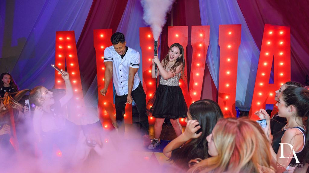 smoke effects at The Greatest Showman theme Bat Mitzvah at the filmore miami by Domino Arts Photography