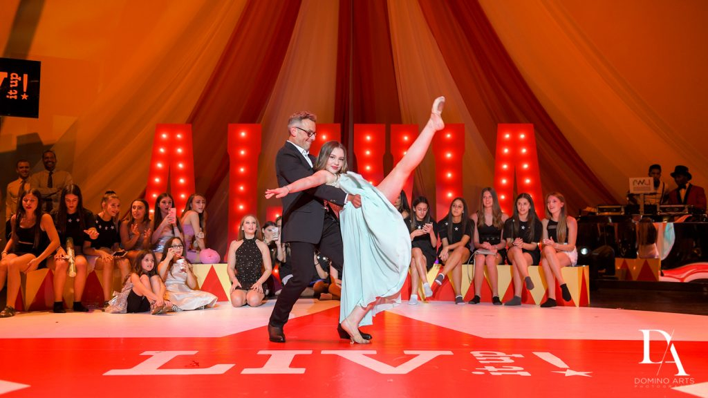 choreographed dance at The Greatest Showman theme Bat Mitzvah at the filmore miami by Domino Arts Photography