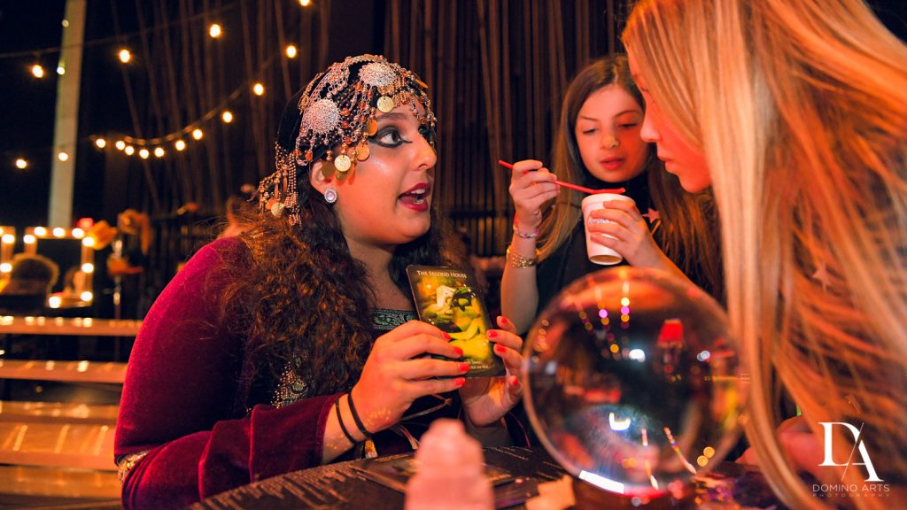 fortune teller at The Greatest Showman theme Bat Mitzvah at the filmore miami by Domino Arts Photography