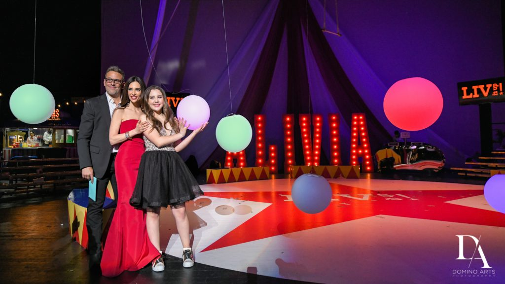 family photos at The Greatest Showman theme Bat Mitzvah at the filmore miami by Domino Arts Photography