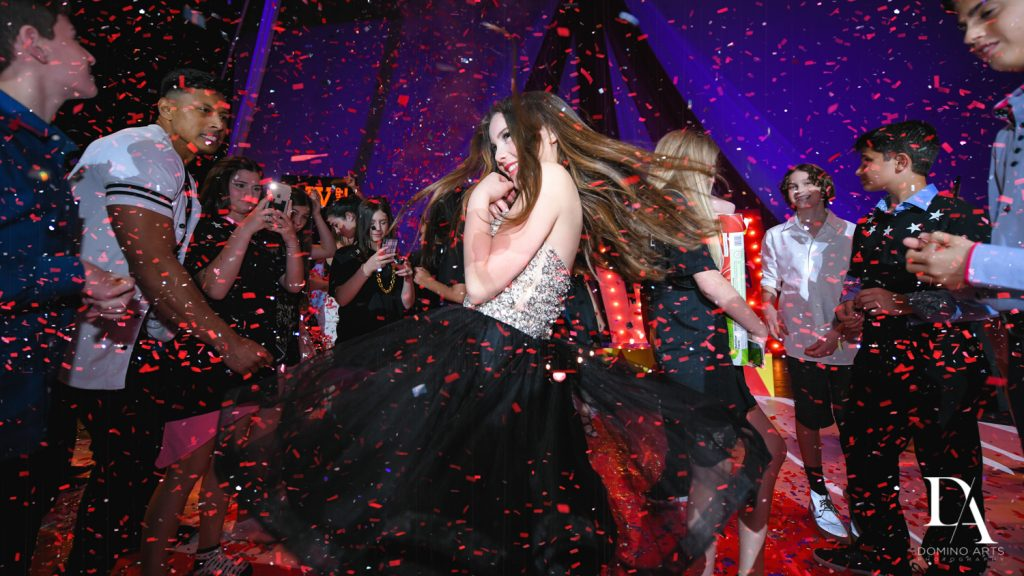 dancing at The Greatest Showman theme Bat Mitzvah at the filmore miami by Domino Arts Photography