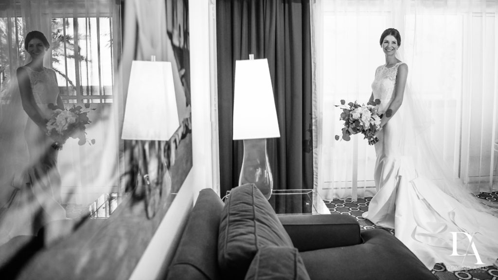 black and white portrait at Romantic Ocean Side Wedding at Eau Palm Beach by Domino Arts Photography