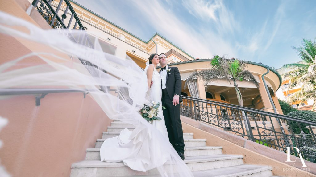 bride and groom at Romantic Ocean Side Wedding at Eau Palm Beach by Domino Arts Photography