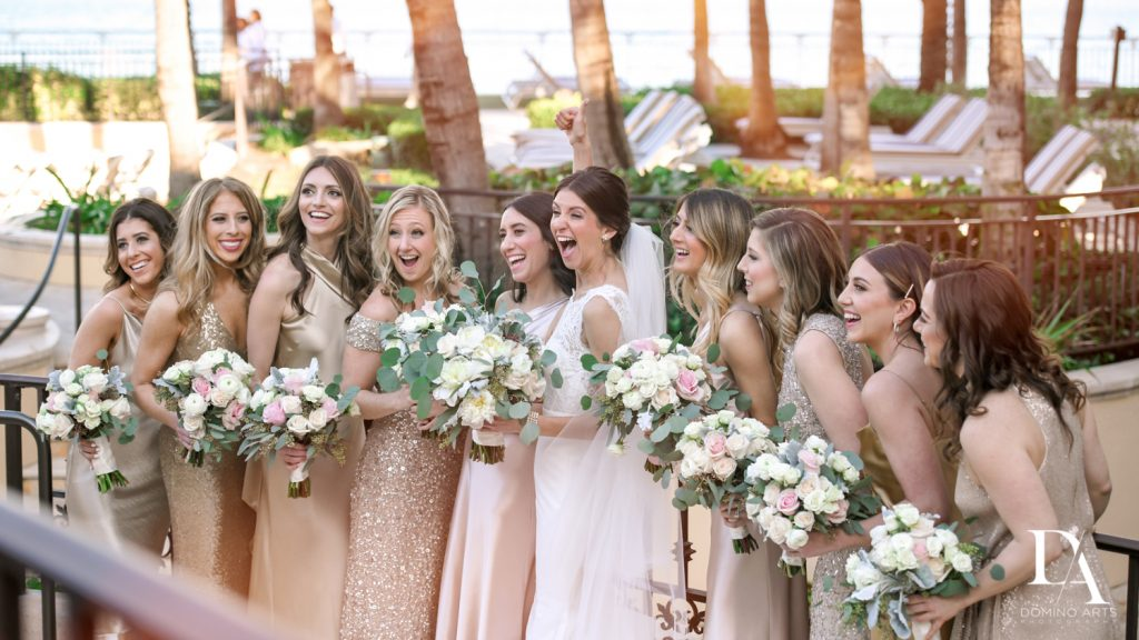bridesmaids at Romantic Ocean Side Wedding at Eau Palm Beach by Domino Arts Photography