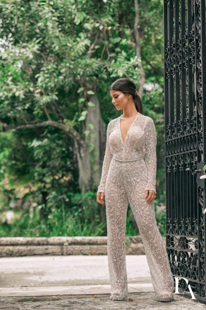 GaliaLahav pantsuit at Haute Couture Engagement Session at Vizcaya Museum and Gardens Miami by Domino Arts Photography