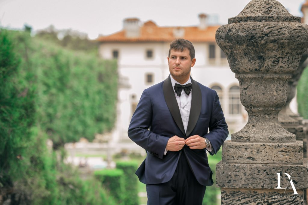 Custom Tiefenbrun suit at Haute Couture Engagement Session at Vizcaya Museum and Gardens Miami by Domino Arts Photography