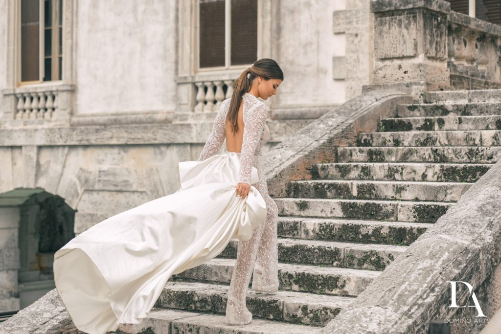Galia Lahav pantsuit at Haute Couture Engagement Session at Vizcaya Museum and Gardens Miami by Domino Arts Photography