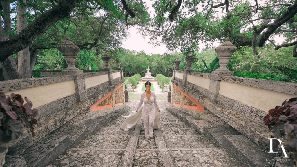 Galia Lahav jumpsuit at Haute Couture Engagement Session at Vizcaya Museum and Gardens Miami by Domino Arts Photography