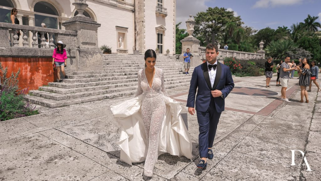 paparazzi at Haute Couture Engagement Session at Vizcaya Museum and Gardens Miami by Domino Arts Photography