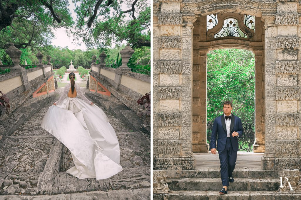 Haute Couture Engagement Session at Vizcaya Museum and Gardens Miami by Domino Arts Photography