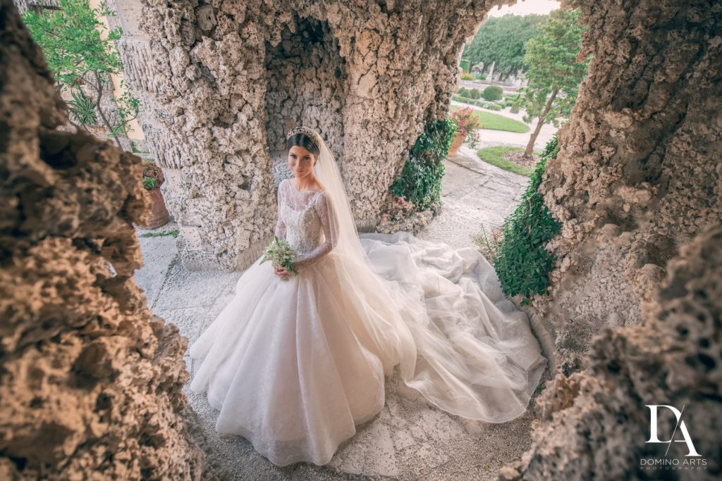 bride at Haute Couture Dream Wedding at Vizcaya Museum & Gardens by Domino Arts Photography