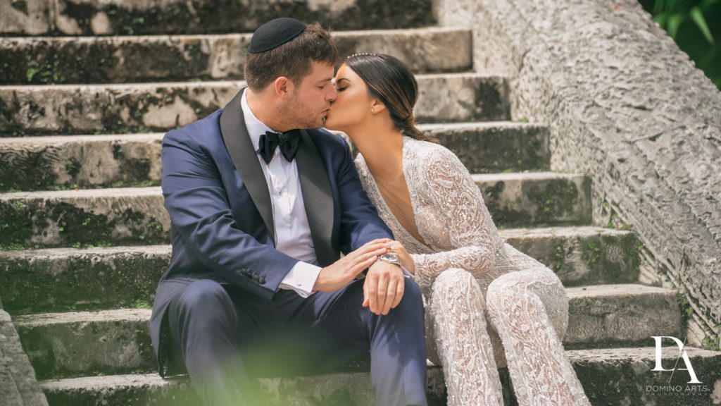 romantic pictures at Haute Couture Engagement Session at Vizcaya Museum and Gardens Miami by Domino Arts Photography