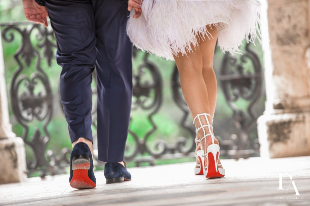 christian louboutin shoes at Haute Couture Engagement Session at Vizcaya Museum and Gardens Miami by Domino Arts Photography