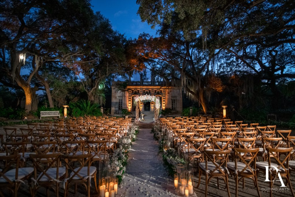 outdoors decor at Haute Couture Dream Wedding at Vizcaya Museum & Gardens by Domino Arts Photography