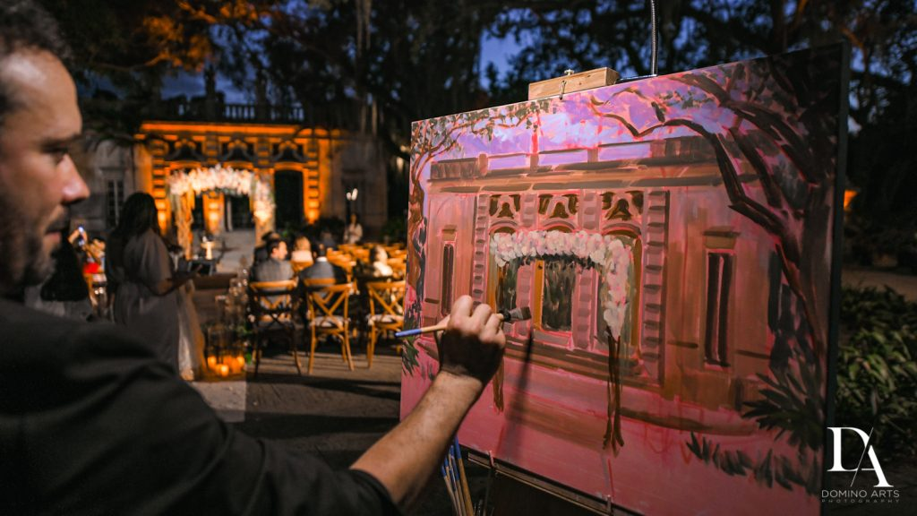 live painting at Haute Couture Dream Wedding at Vizcaya Museum & Gardens by Domino Arts Photography