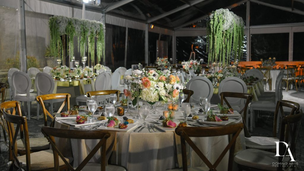 beautiful decor at Haute Couture Dream Wedding at Vizcaya Museum & Gardens by Domino Arts Photography