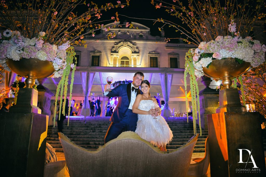 party pictures at Haute Couture Dream Wedding at Vizcaya Museum & Gardens by Domino Arts Photography