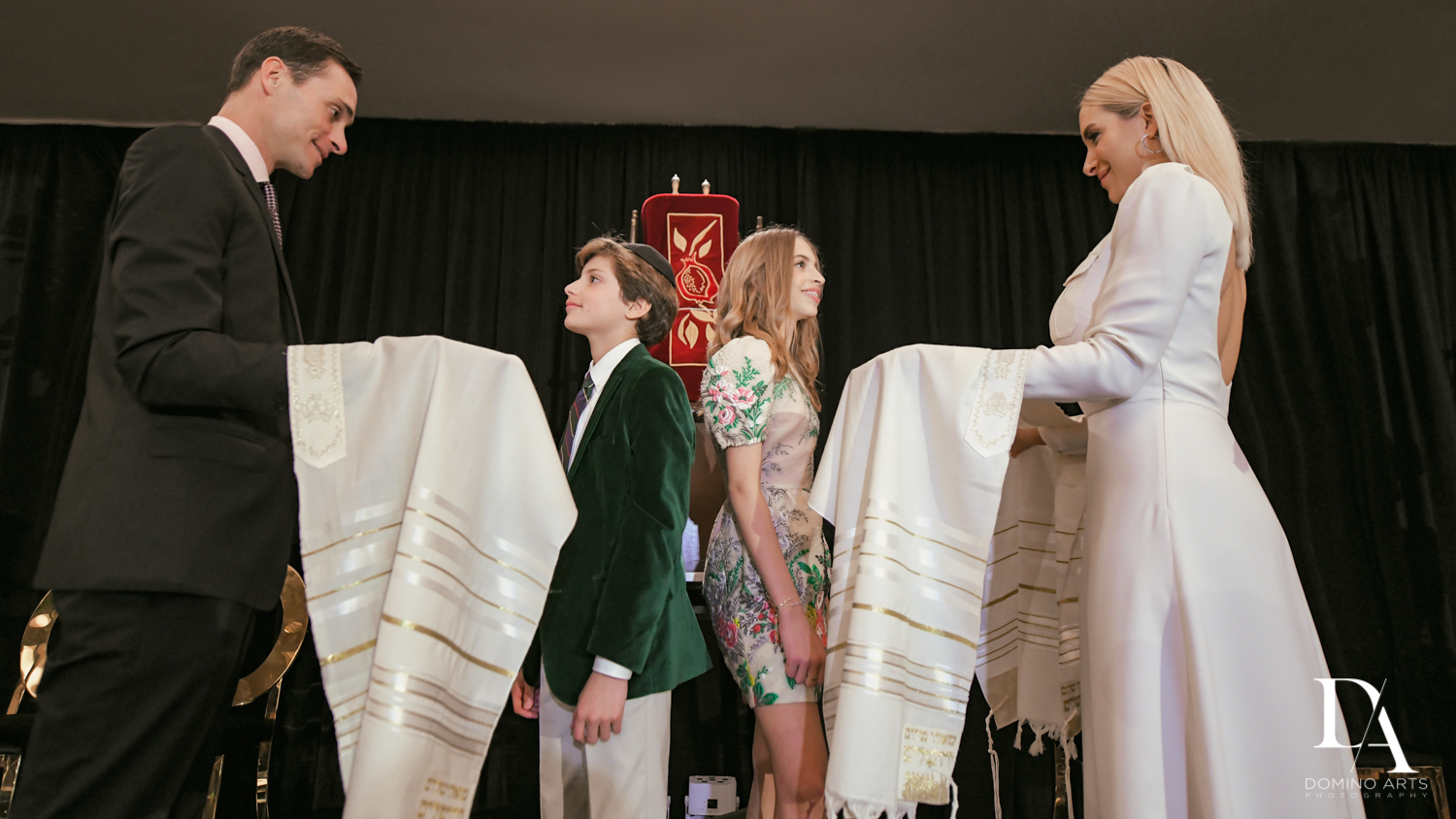 Double ceremony at Designer invitations at Stylish Architectural B'Nai Mitzvah at the NEW JW Marriott Miami Turnberry Resort & Spa by Domino Arts Photography