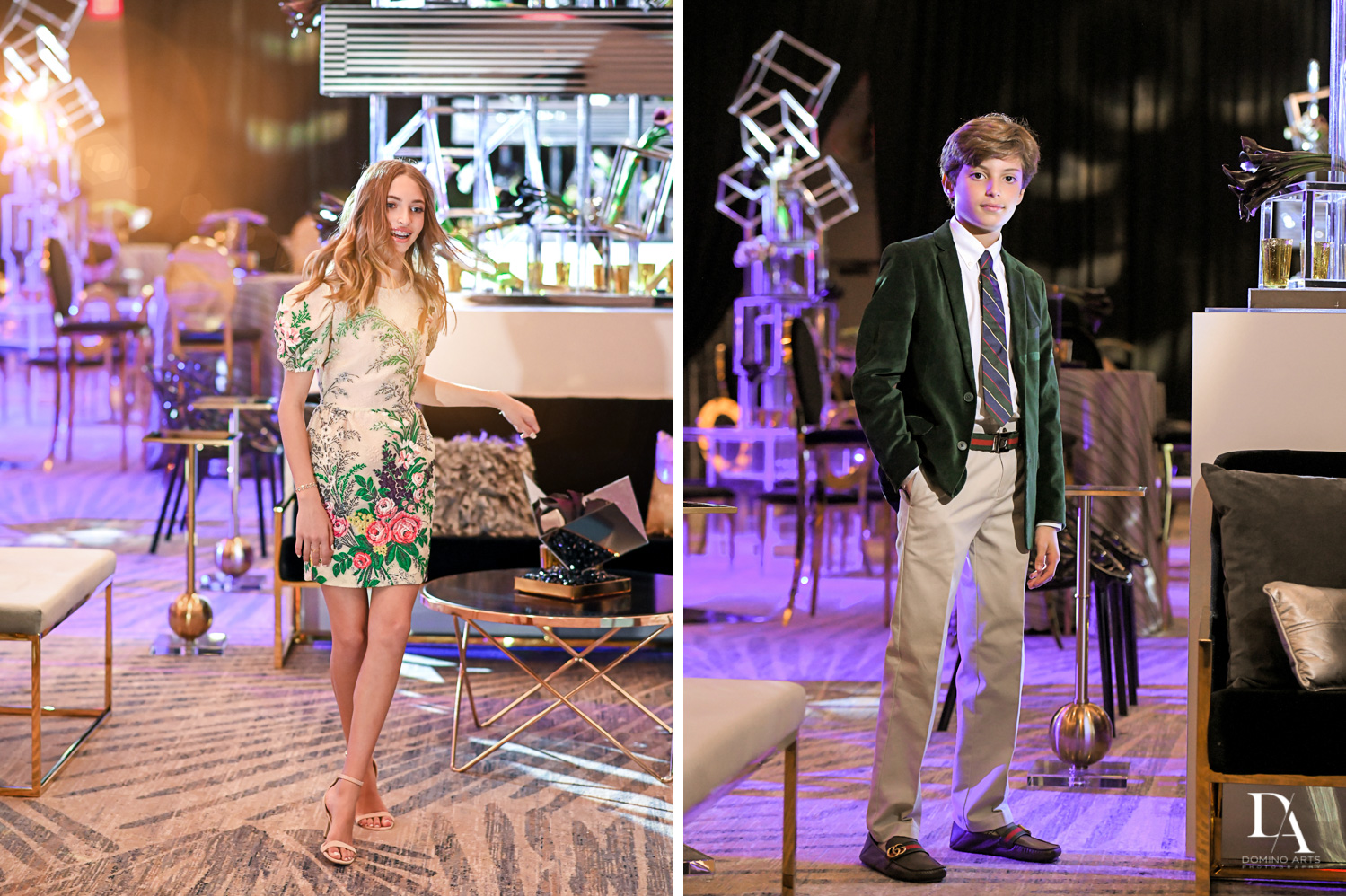 boy and girl at Designer invitations at Stylish Architectural B'Nai Mitzvah at the NEW JW Marriott Miami Turnberry Resort & Spa by Domino Arts Photography