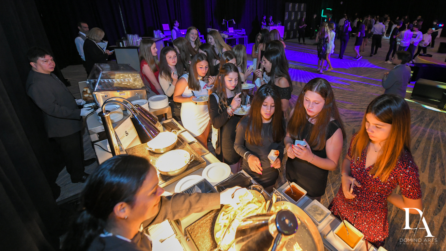 buffet catering at Designer invitations at Stylish Architectural B'Nai Mitzvah at the NEW JW Marriott Miami Turnberry Resort & Spa by Domino Arts Photography