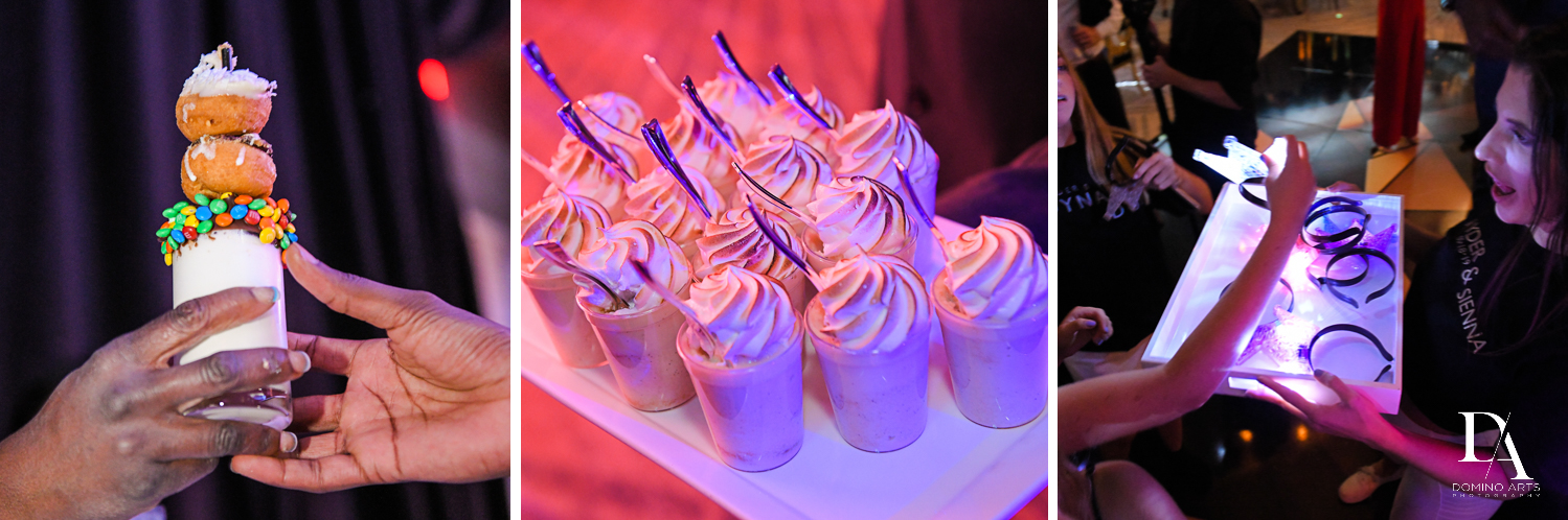 best dessert at Designer invitations at Stylish Architectural B'Nai Mitzvah at the NEW JW Marriott Miami Turnberry Resort & Spa by Domino Arts Photography